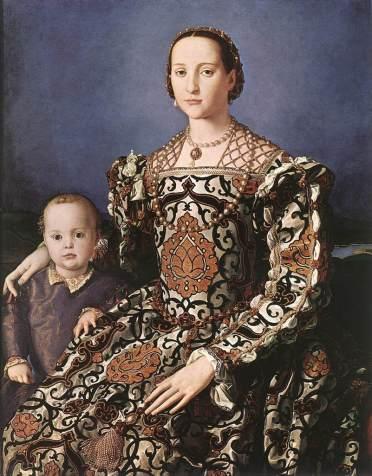 Portrait of Eleanor of Toledo and her son Giovanni, by Bronzino, c. 1514. The Uffizi