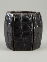 Monies Black Leather and Wood Bracelet