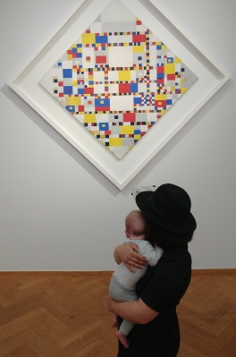 My daughter and I, at The Discovery of Mondrian, Gemeentemuseum The Hague. Image © Leora Sameni